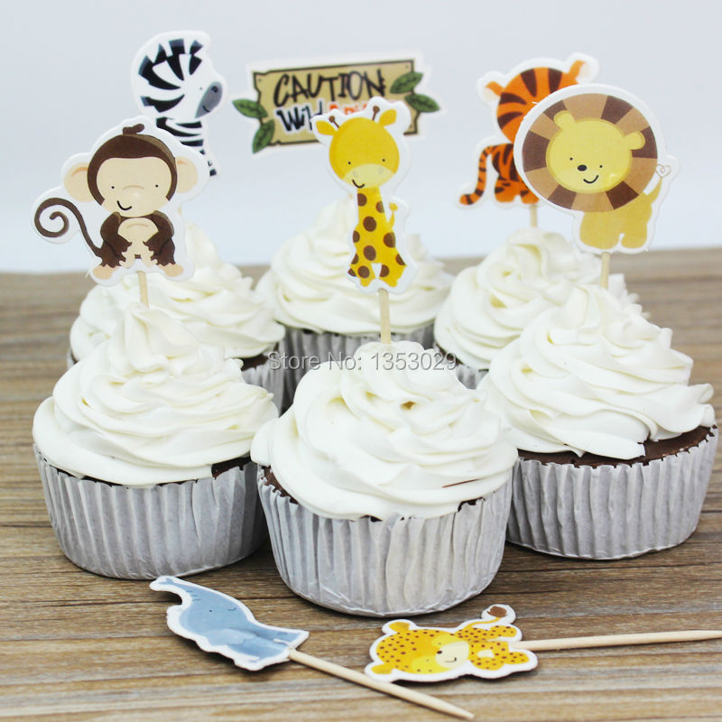 24pcs Jungle Safari NOAHS Cupcake Picks Animal Cake Toppers Cartoon Inserts Card Birthday Baby Shower Kids Party Favors In Decorating Supplies