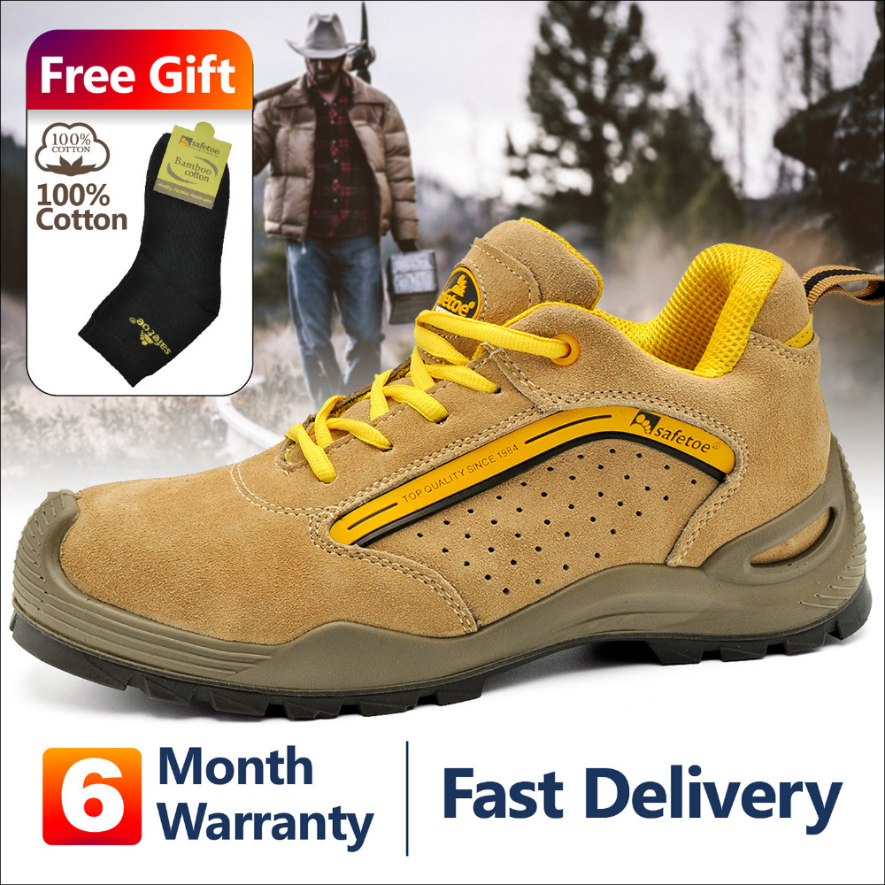 SAFETOE Safety Shoes breathable With Steel Toe Work Shoes Men Casual Protective Footwear Anti piercing Sports