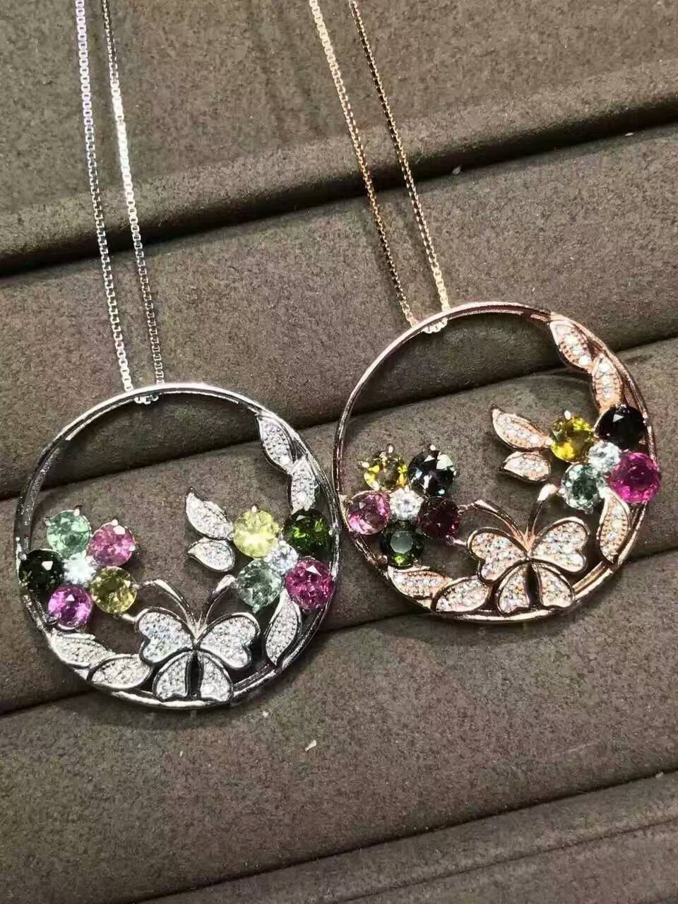 natural multicolor tourmaline pendant S925 silver Natural gemstone Pendant Necklace Luxury flower butterfly women party jewelry natural ice jade gem pendant s925 silver natural gemstone pendant necklace luxury big round flower women gift party gift jewelry