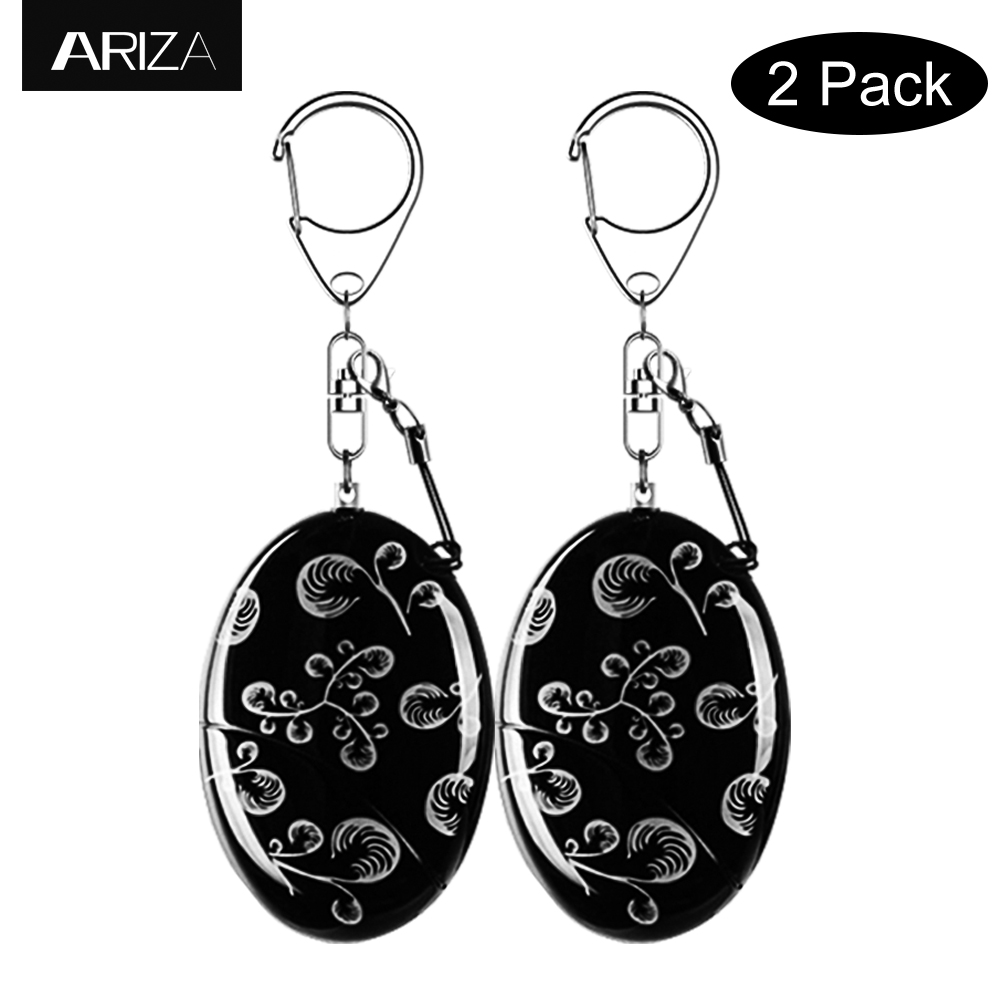 Ariza 2pcs Waterproof Self-defense Personal Alarm Keychain 120dB Siren Alarm Security Keychain Alarm Panic for Girls Students personal guard safety security siren alarm with led flashlight white 2 cr2032