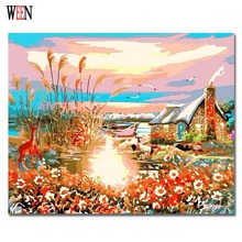 abstract lakeside house Oil Painting By numbers DIY Hand Painted Digital Picture On Wall Acrylic Coloring Numbers Canvas
