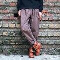 Женщины Хлопок Брюки Сплошной Цвет брюки-Карго Женские осень Саржа хлопок Ретро морковь Брюки Шаровары Брюки Свободные