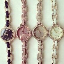 Geneva Platinum Rhinestone Sterling Silver Armband Roman Numeral Chain Watch Women
