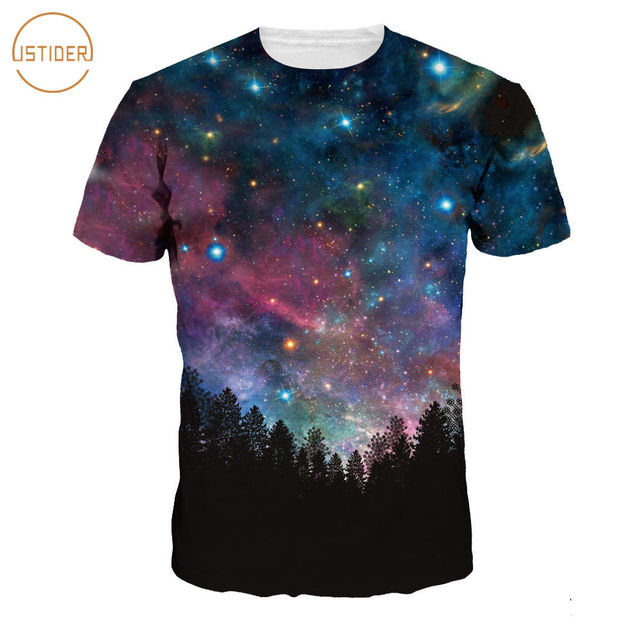 ISTider Men/Women 3D T Shirt Space Galaxy T-Shirt 3D Print Trees Night