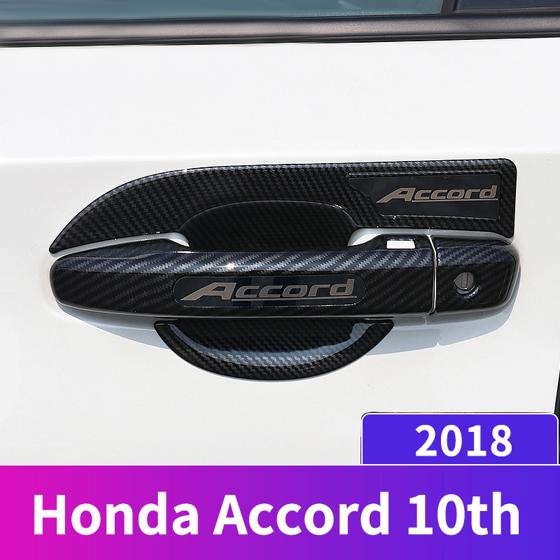 Carbon Fiber Car External Outer Door Handle Catch Covers Cap Door Bowl Protection Sticker For Honda Accord 2018 2019 Accessories