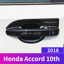 Carbon fiber Car External Outer Door Handle Catch Covers Cap Bowl Protection Sticker For Honda Accord 2018 2019 Accessories