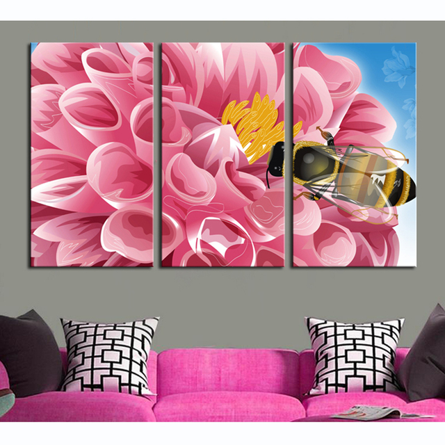 Modular Wall Paintings on the Wall Pink Flower and Bees Landscape HD ...