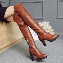 Tamanho grande 34 45 2016 inverno novas botas de salto alto lazer saltos elegantes sapatos femininos sexy botas de couro de salto redondo T703 5