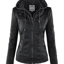 Chaqueta gótica de cuero de imitación de mujer 2019 Hoodies invierno otoño motocicleta chaqueta negro prendas de abrigo de cuero de imitación PU chaqueta básica