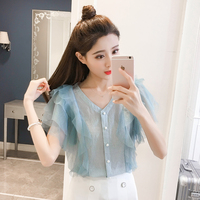 2018 Summer Fashion New Mesh Patchwork Shirt Ladies Casual Ruffles Chiffon Blouses Woman Clothing Sexy V Neck Solid Color Shirts