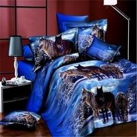 3D Bedclothes Wolf Leopard Tiger Lion Panda Flower 4pcs Bedding Sets King Or Queen Reactive Print