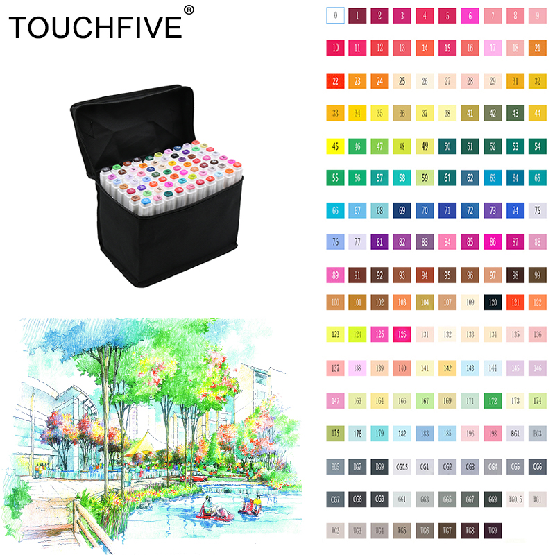 TOUCHFIVE 80 Colors Drawing Marker Pen Animation Sketch Copic Markers Set For Artist Manga Graphic Alcohol Based Markers Brush