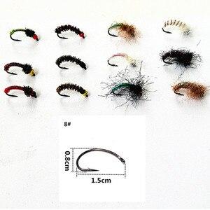 Image 4 - KKWEZVA 50 יחידות שילוב נימפה טוס דיג זבובים טוס חרקים שונה סגנון סלמון פורל לטוס דיג פתיונות קרס דיג
