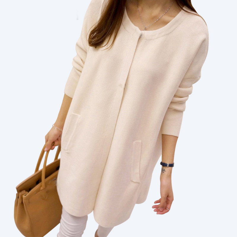 New Arrivals Covered Button Long Cardigan sweater Female 2017 Long Sleeve Knit Cardigans Women Autumn Winnter Sweater coats AS42 ...