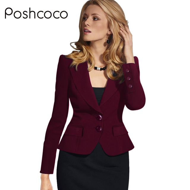Poshcoco High-Q 2017 Womens Spring Autumn Long Sleeve Turn Down Collar Button Wear to Work Office Outwear Jacket Women Blazer