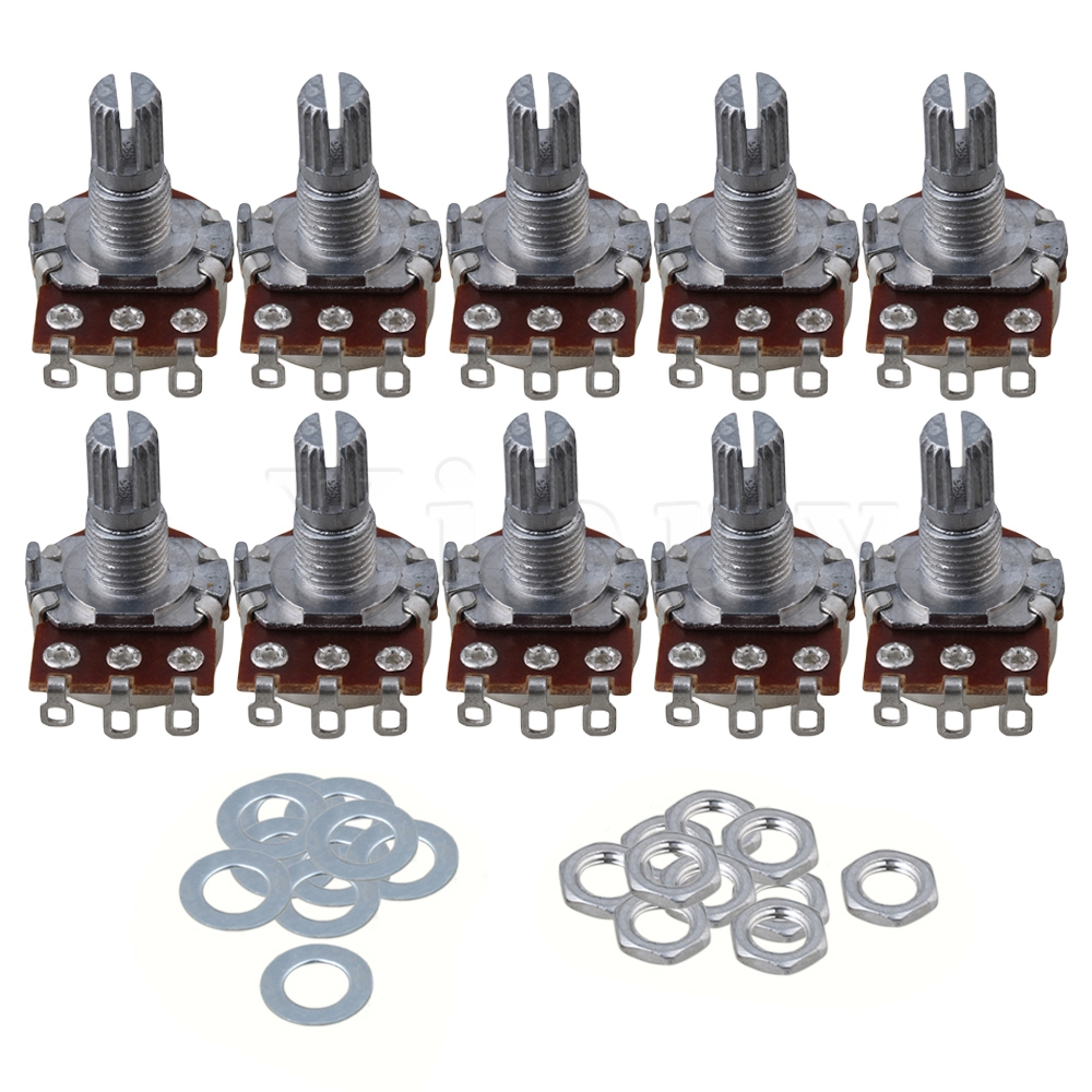 Yibuy 10pcs 16mm Base A100k 15mm Shaft Electric Guitar None Potentiometer