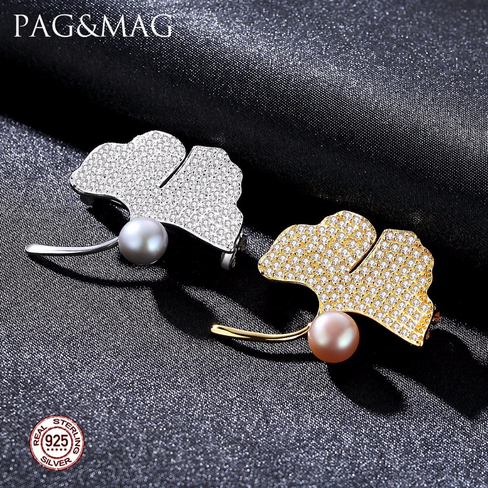 PAG&MAG Brand Ginkgo Leaf Natural Pearl Women Brooch Pink and Gray - Fine Jewelry - Photo 2