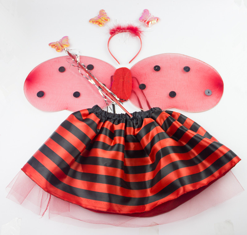 wholesale kids girls miraculous ladybug cosplay halloween costumes head buckle wand wing stripe skirt 4 pc - Halloween Novelties Wholesale