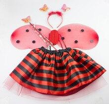 Los Niños al por mayor niñas Milagrosa Mariquita cosplay disfraces de halloween Cabeza hebilla varita Ala raya Falda 4 unid fijó el envío libre(China (Mainland))