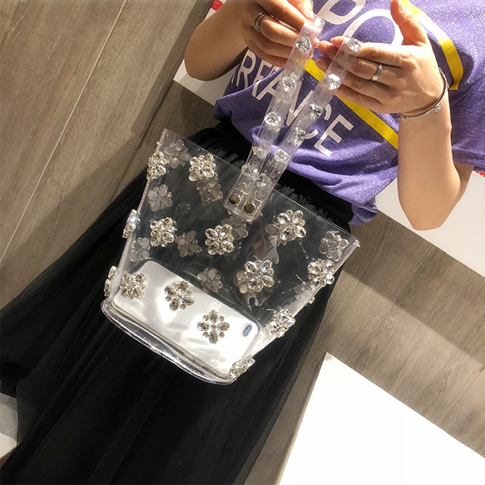 Women Handbag Transparent Bag Clear PVC Jelly Tote Big Casual Totes Girls Flower Diamonds Bling Female