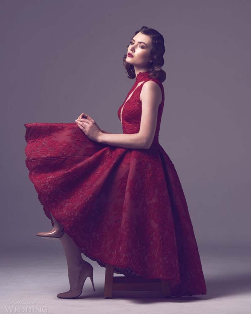 Modest vino roja del cordón corto tamaño más vestidos cóctel vestido ...