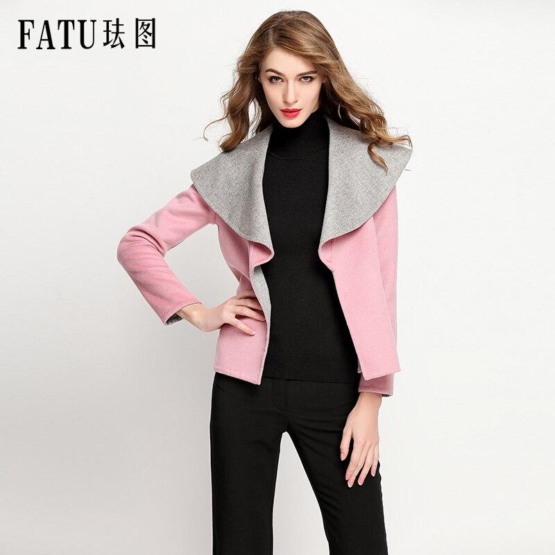 Fashion Winter Women Outwear Elegant 90%Woolen Cloth Coat Turn Down Collar Long Wool Coat Woman Warm Thick Coats with belt