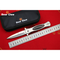 BEAR CLAW 440C Blade Steel Ebony Handle Flipper Folding Knife Outdoor Camping Hunting Pocket Fruit Knives
