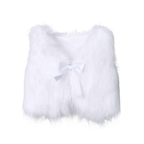 Kid/'s Faux Fur Warm Gilet Vest Waistcoat Wrap Shrug Jacket Coat Outwear Overcoat