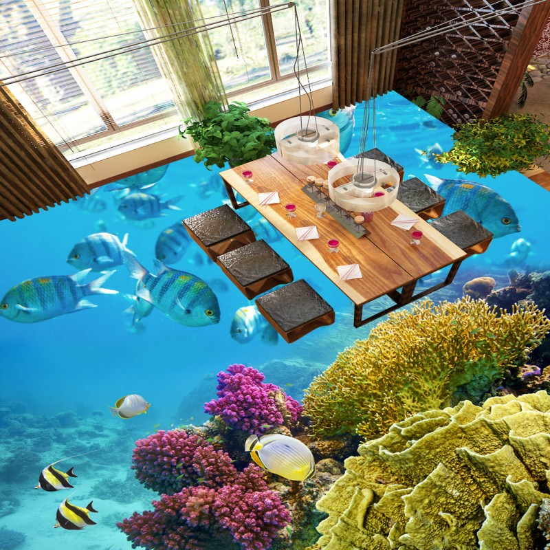 Free Shipping Beauty Tropical Fish Coral Toilet Bedroom 3D Floor thickened wear non-slip living room kitchen flooring mural free shipping sea world dolphin 3d floor thickened wear non slip bedroom living room kitchen flooring wallpaper mural
