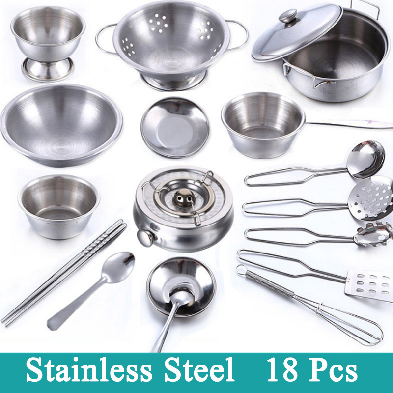 Aspiring New Sale 18 Pcs Stainless Steel Children Kitchen Toys Miniature Cooking Set Simulation Tableware Toy Pretend Play Cook Toy Kids Attractive Appearance