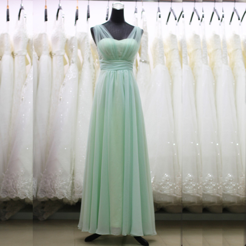 Holievery Capped Chiffon Long   Bridesmaid     Dresses   with Tulle Straps 2019 Mint Green Royal Blue Floor Length Wedding Guest   Dress