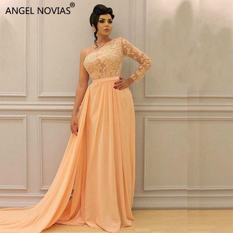 ANGEL NOVIAS Lange Een Schouder Geel Chiffon Arabisch Avondjurk 2018 Formele Gowns 2018 met Flying Sash Vestido Sirena Largo