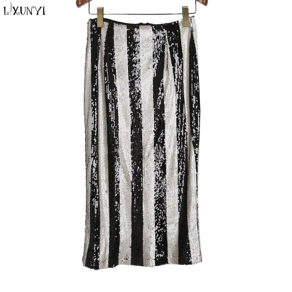 Lxunyi automne hiver mode nouvelle jupe à paillettes femmes Patchwork taille haute Midi longue jupe crayon dames jupes de fête