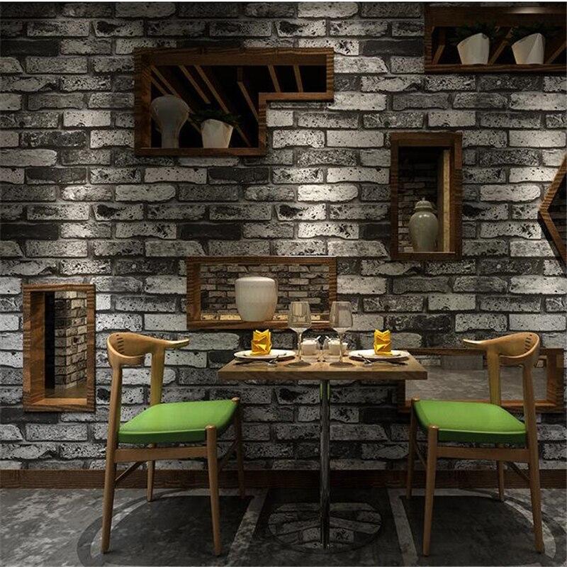 Купить с кэшбэком beibehang High end Retro Nostalgic Stereo Facing Brick Wall paper Bar Cafe Hotel Living Room Red Brick Wallpaper Papel de Parede