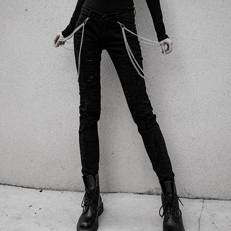 Women   Jeans   Mujer Casual Gothic Punk Chic Metal Chain Denim Vintage Female Pencil Pants Skinny Club Denim Trousers Holes Ladies