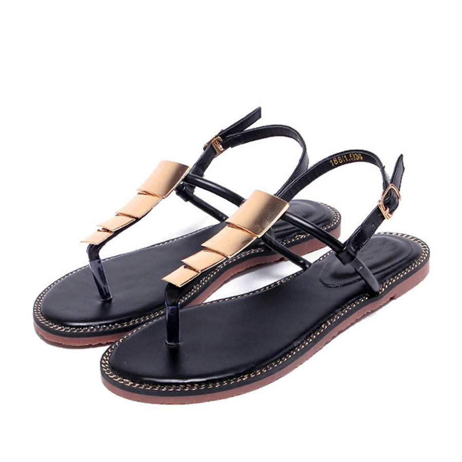 Women Metal Flip Flops Summer Roman Style Beach Sandals Shoes Fashion Flat Women Sandals Zapatos Mujer Leisure Ladies sandalias wolf who summer women slippers buckle flats sandals fashion beach sandals leisure sandalias mujer high quality flip flops women