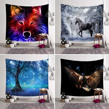 200*150cm Wall Hanging Background Psychedelic Holy Animals 3D Wall Tapestry Decor Wolf Eagle Tapestries Bedspread Horse Blanket