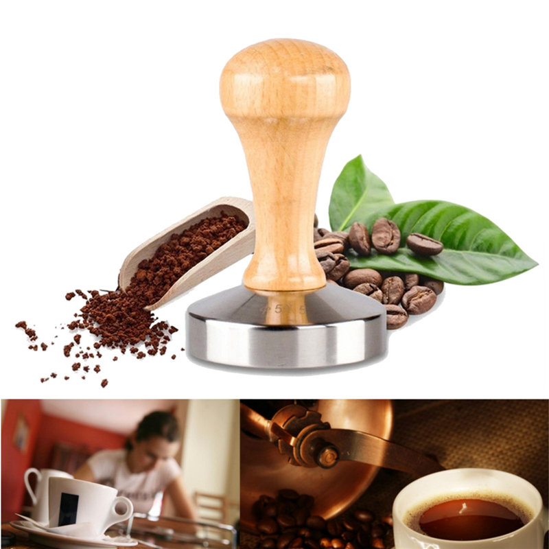 58mm Stainless Steel Aluminum Casting Espresso Coffee Tamper Flat Base Wood Handle Coffee Bean Pressure Powder Hammer Tool