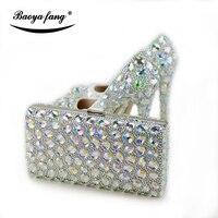 Новый AB Сияющий Цвет Кристалл женские свадебные туфли на сверкающем высоком вечерняя обувь на высоком каблуке высокая обувь на платформе Б