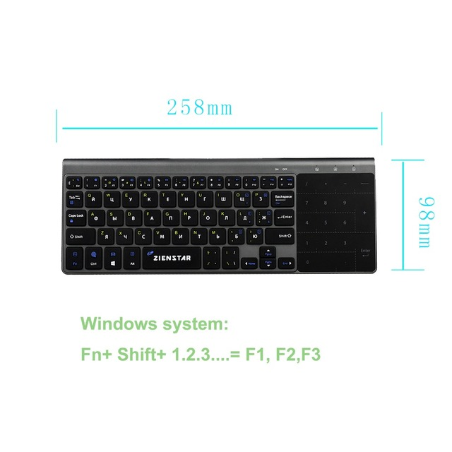 Zienstar 2.4G Wireless Mini  Keyboard with Touchpad and Numpad  for Windows PC,Laptop,Ios pad,Smart TV,HTPC IPTV,Android Box 2
