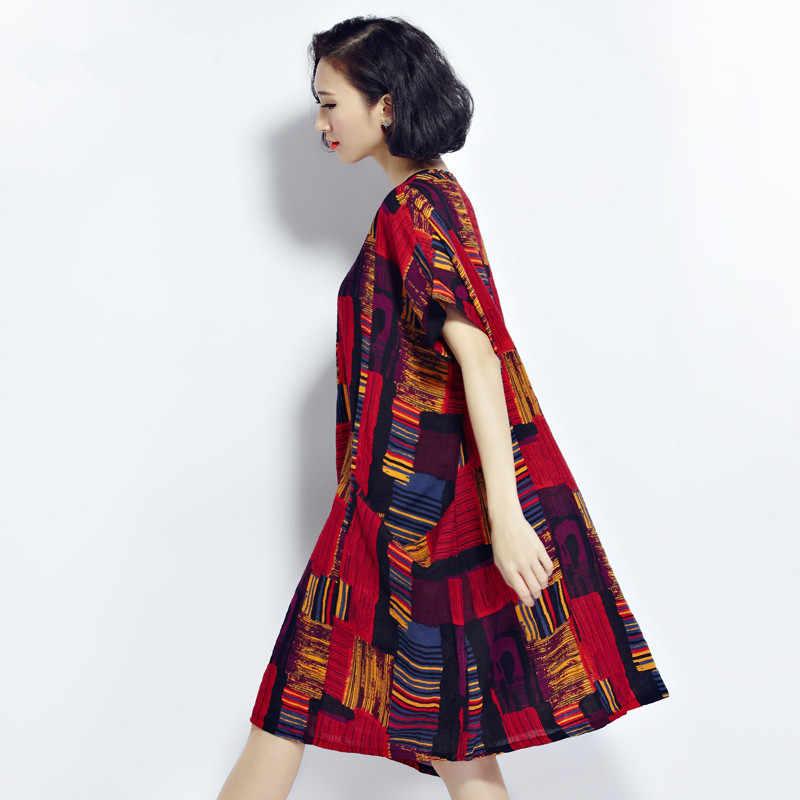 2018 г. пикантные плюс Размеры платья boho Летний хлопок и лен платье в клетку Одежда для беременных Для женщин кимоно платья большой Размеры s