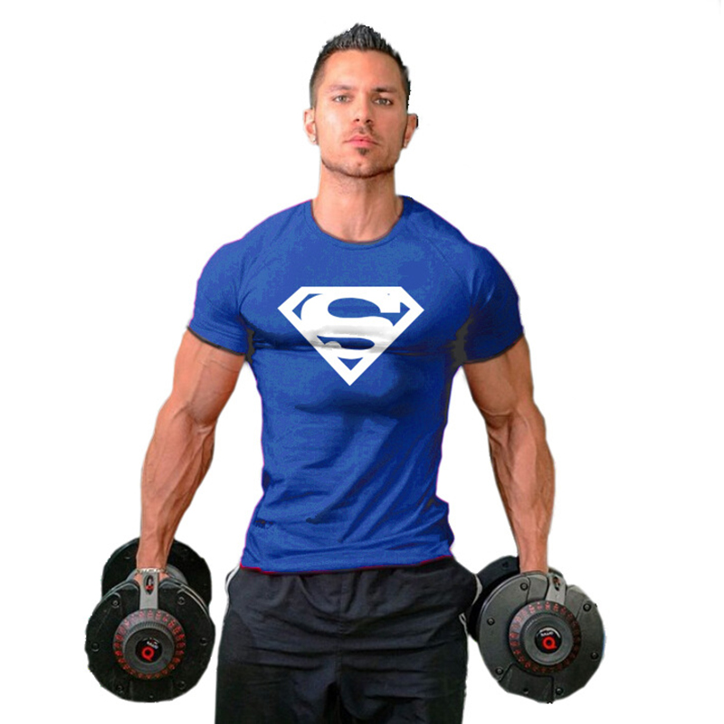 Men Superman Superhero Printed T-shirt Bodybuilding Fitness Sport Tee Male Muscle Training Gym Running Jogging Shirts garment bag