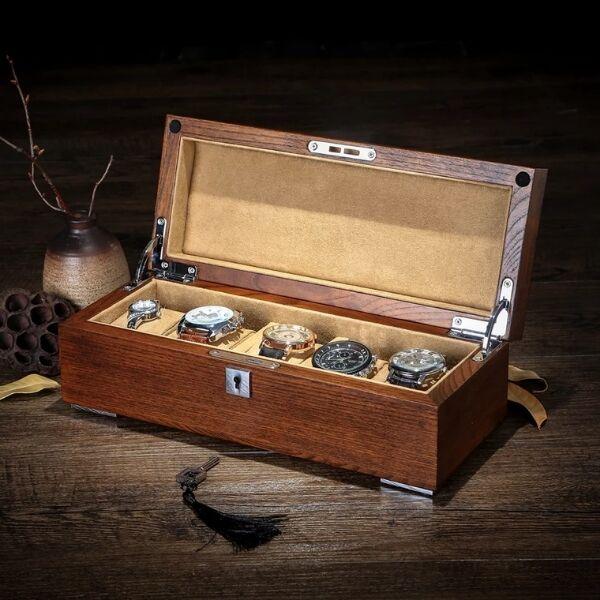 Роскошный ретро старинный Elm фиолетовый из чистого массива дерева коробка для хранения коллекции дисплей 4 сетки Подарочная коробка для час