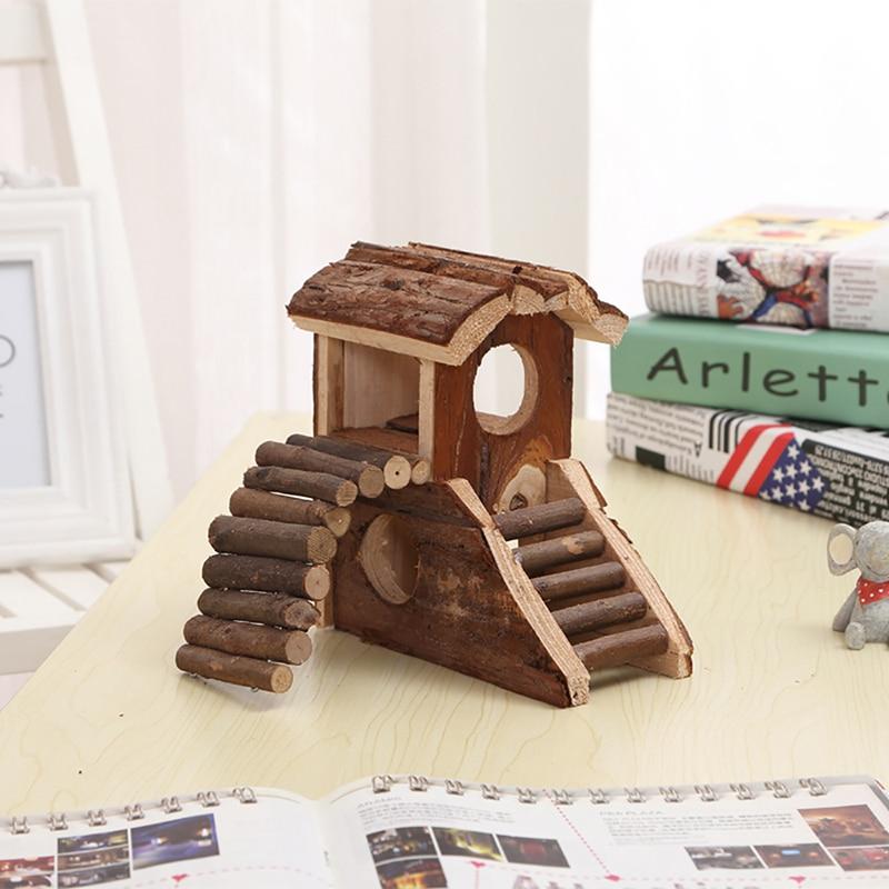 DIY Natural Wooden Hamster House Small Animal Handmade ...