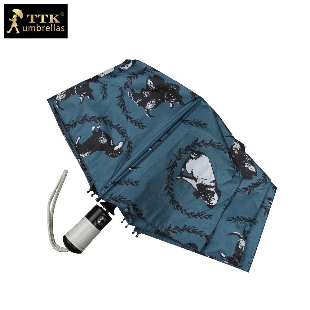 Детский зонт женский автоматический складной зонт милая собака черный ТТК зонтик водонепроницаемый зонт автоматический зонт дождя женские