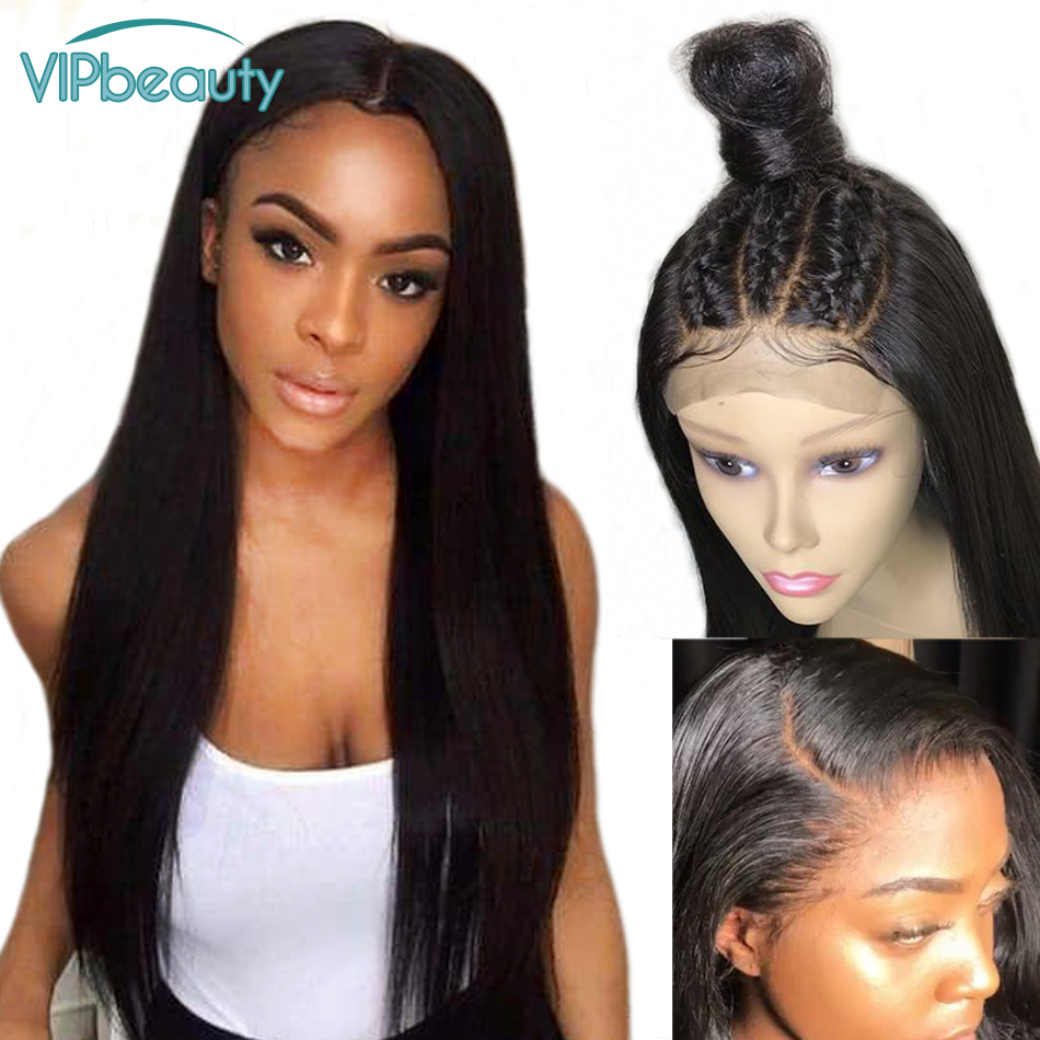 VIPbeauty 360 Lace Frontal Wig With Baby Hair 150% Brazilian Straight Remy Lace Front Human Hair Wigs Pre Plucked-in Human Hair Lace Wigs from Hair Extensions & Wigs    1