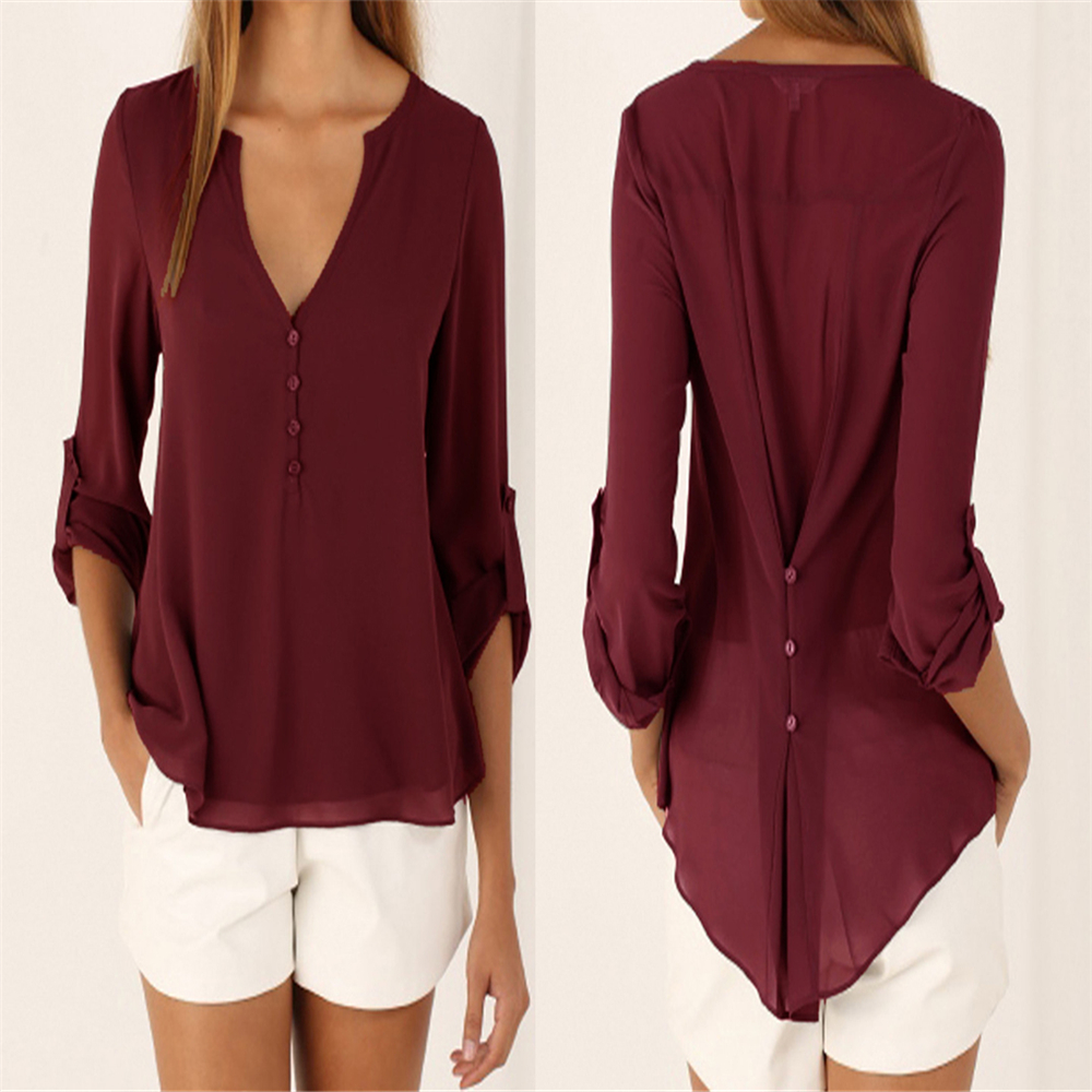 Plus Size M-5XL V-neck Chiffon Blouse Womens Tops Fashion 2018 Women Summer Loose Long Sleeves Solid Color Office Tulle Shirt 3