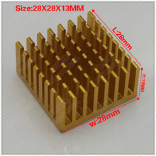 Free shipping 5pcs 28 28 13 mm Aluminum Heat Sink Golden Anodized For Electronic Chip