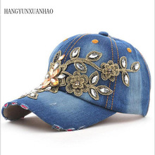 HANGYUNXUANHAO Brand Baseball Cap with Rhinestone Women Casual Snapback Hat For Flower New Fashion Solid Summer Sun lady Hats