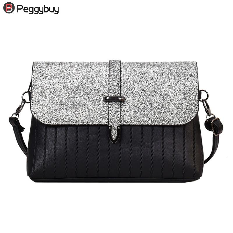 Sequin PU Leather Sling Handbag Women Fashion Messenger Bag Solid Vintage Party Clutch Lady Casual Cool Shoulder Crossbody Bags aerlis brand men handbag canvas pu leather satchel messenger sling bag versatile male casual crossbody shoulder school bags 4390